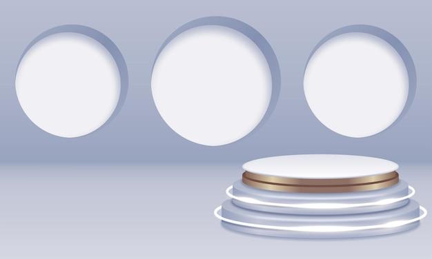 Podium blanc sur salle grise avec cercles blancs