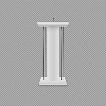 Podium blanc, tribune avec micros. illustration créative d'une tribune de podium avec des microphones sur un fond transparent. présentation d'affaires ou discours de conférence réaliste 3d se dresse.