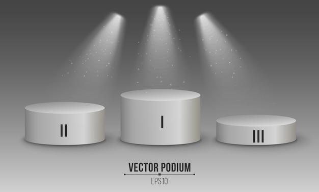 Podium blanc vide 3d. numérote les premières, deuxième et troisième premières places. projecteurs blancs.