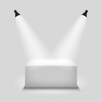 Podium blanc vide réaliste, lieu de placement de produit pour présentation