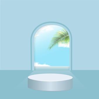 Podium bleu minimaliste en forme géométrique avec vue sur le ciel et feuilles d'été