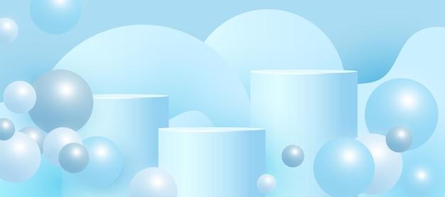 Podium bleu vide, socle ou plate-forme avec des formes de billes volumétriques sur fond bleu. scène minimale avec des formes géométriques pour la présentation du produit.
