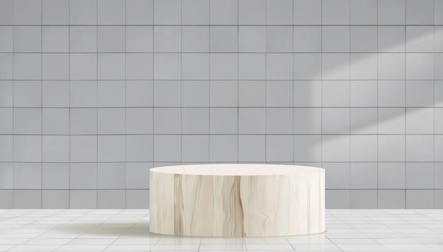 Podium en bois de cylindre en fond de mur de carreaux de céramique blanche