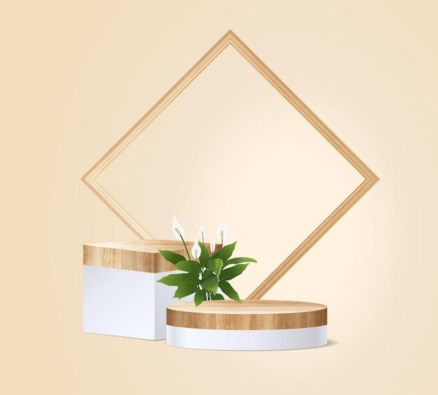 Podium en bois vectoriel sur fond de salle murale, maquette de présentation, conception de piédestal de scène d'affichage de produits cosmétiques