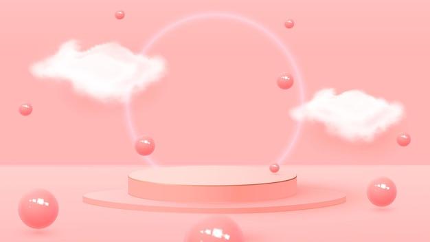 Podium avec boules et nuages. balles rebondissantes, fonds pastel, piédestal.
