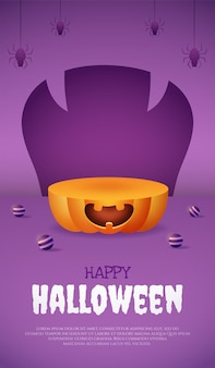 Podium de citrouille d'affichage de produit 3d avec affiche de boule et d'araignée violette