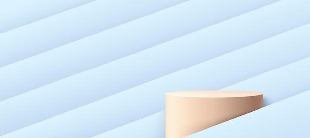 Podium de cylindre beige pastel abstrait avec fond de motif géométrique de couleur hologramme bleu clair