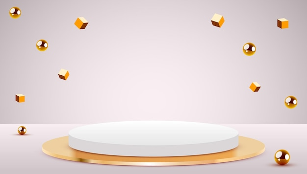 Podium de cylindre de fond de scène abstraite et cubes et sphères d'or