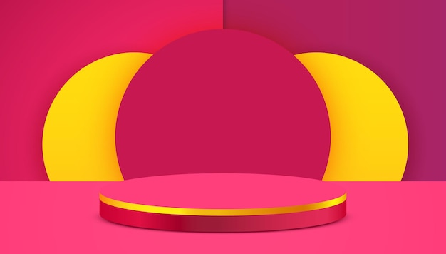 Podium de cylindre de fond de scène abstraite sur fond rose présentation de produit maquette spectacle podium de produit cosmétique piédestal de scène ou plate-forme