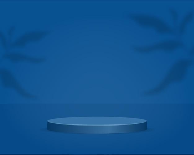 Podium de cylindre vide sur fond bleu avec superposition d'ombre. scène minimale abstraite avec objet de forme géométrique. 3d