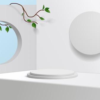 Podium cylindrique blanc sur fond blanc avec des feuilles. présentation de produit, scène pour montrer produit cosmétique, podium, piédestal de scène ou plate-forme. simple nettoyer