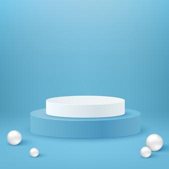 Podium cylindrique réaliste. podium rond blanc et bleu et présentoirs d'exposition. jeu de formes géométriques. sphères et cercle de piédestal
