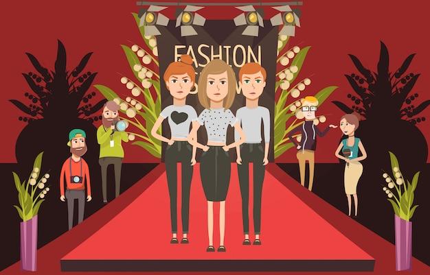 Podium de défilé composition à plat avec griffonnage modèles féminins et journalistes photographe personnages