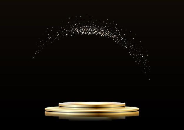 Podium doré sur fond sombre, avec des paillettes. première place, renommée et popularité.