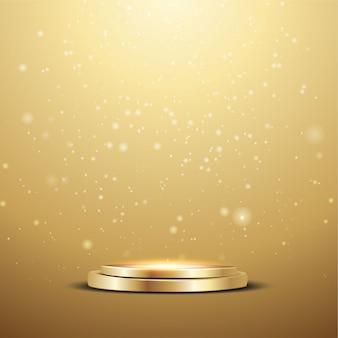 Podium doré avec un projecteur et des lumières bokeh