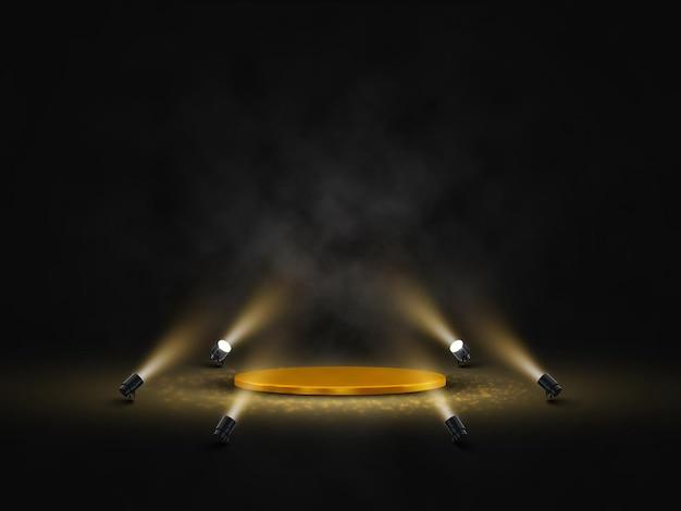 Podium avec éclairage isolé sur noir