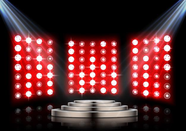 Podium d'étape avec des projecteurs et fond de scène rouge