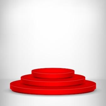Podium d'étape rond. scène de podium rouge festive