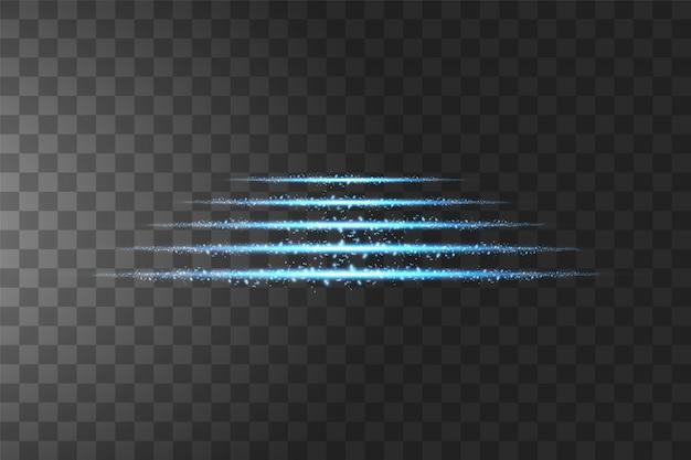 Podium d'étapes. effet transparent bleu isolé lueur, lumière parasite, explosion, paillettes, ligne, flash solaire, étincelle et étoiles.