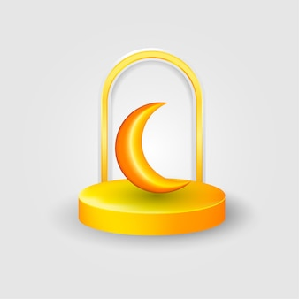 Podium D'événement Islamique 3d Vecteur Premium