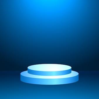 Podium, fond bleu clair minimal, forme géométrique