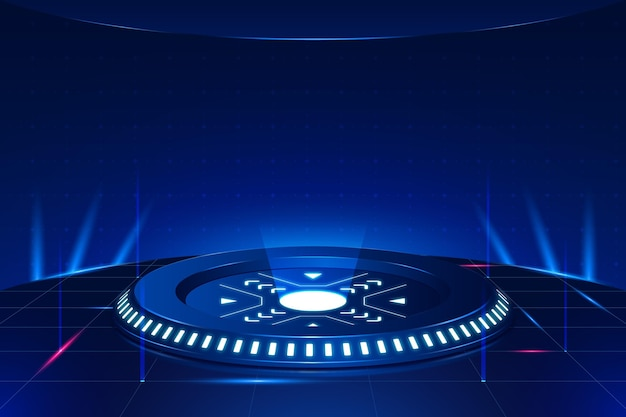 Podium avec fond futuriste de lumières