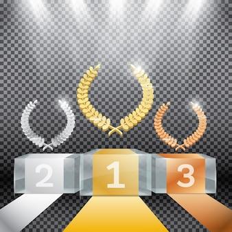 Podium gagnant en verre avec projecteurs et couronne de laurier sur fond transparent.