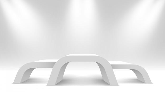 Podium des gagnants blancs blancs. stand d'exposition avec projecteur. piédestal. illustration.
