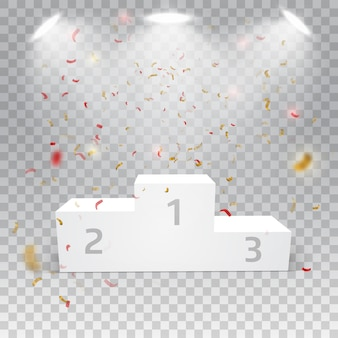 Podium des gagnants blancs avec des confettis sur fond abstrait.