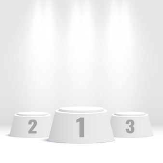 Podium des gagnants blancs. piédestal. illustration.