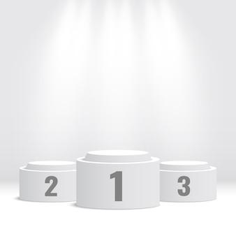 Podium des gagnants blancs. piédestal avec projecteurs. illustration.