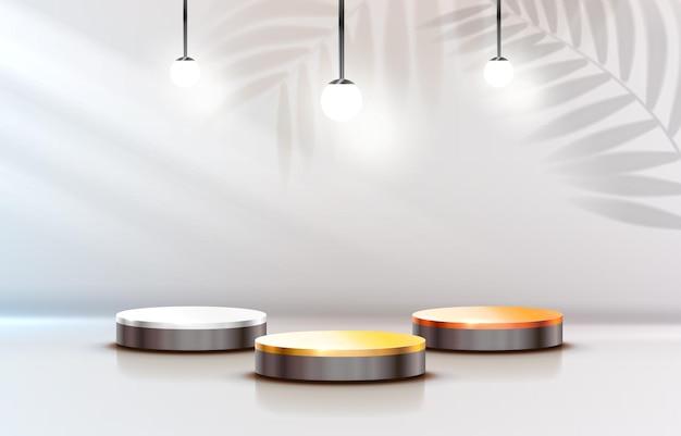 Podium des gagnants blancs pour les concepts commerciaux podium définir le vecteur d'objet