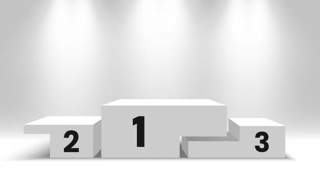 Podium des gagnants blancs avec projecteurs. piédestal. illustration.