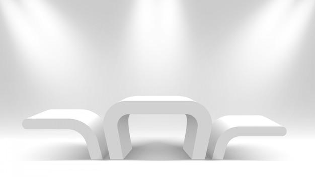 Podium des gagnants blancs. stand d'exposition. piédestal avec projecteurs. illustration.