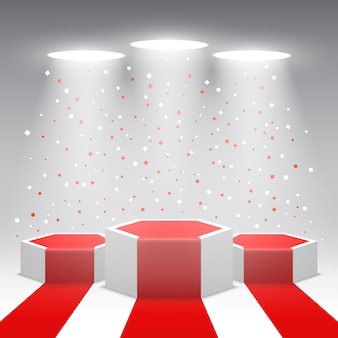 Podium des gagnants blancs avec tapis rouge et confettis. scène pour la cérémonie de remise des prix. piédestal. illustration.