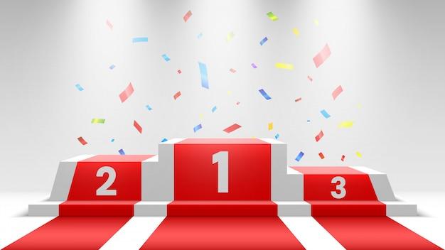 Podium des gagnants blancs avec tapis rouge et confettis. scène pour la cérémonie de remise des prix. piédestal avec projecteurs. illustration.