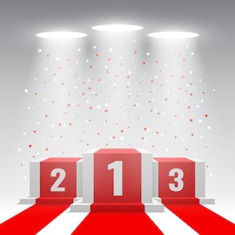 Podium des gagnants blancs avec tapis rouge et confettis. scène pour la cérémonie de remise des prix avec des projecteurs. piédestal. illustration.