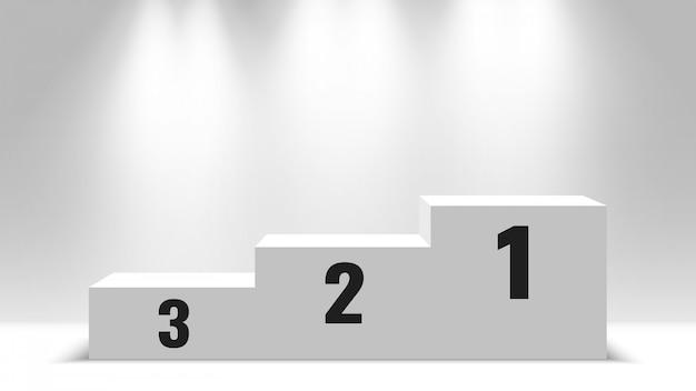 Podium des gagnants. socle blanc blanc avec des projecteurs. illustration.