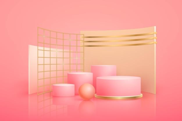 Podium géométrique abstrait doré avec des formes