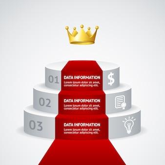 Podium infografic avec tapis rouge