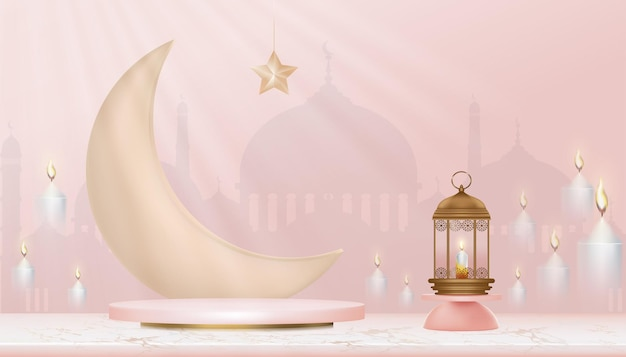 Podium islamique 3d avec croissant de lune, lanterne islamique traditionnelle, bougies et mosquée. bannière islamique horizontale pour la présentation du produit