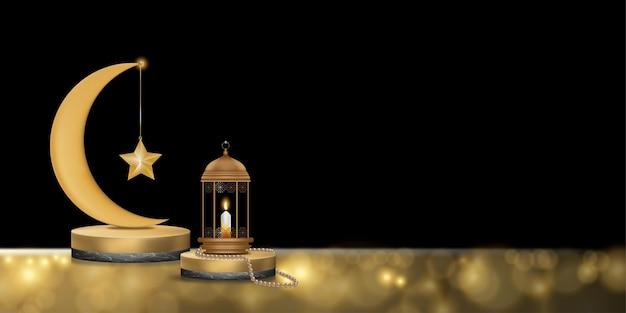 Podium islamique avec croissant de lune en or rose, lanterne islamique traditionnelle, chapelet, bougie.