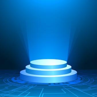 Podium avec lumière bleue, fond bleu minimal, forme géométrique, carte de circuit numérique technologique