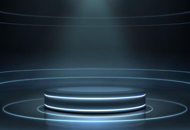 Podium lumineux vide réaliste