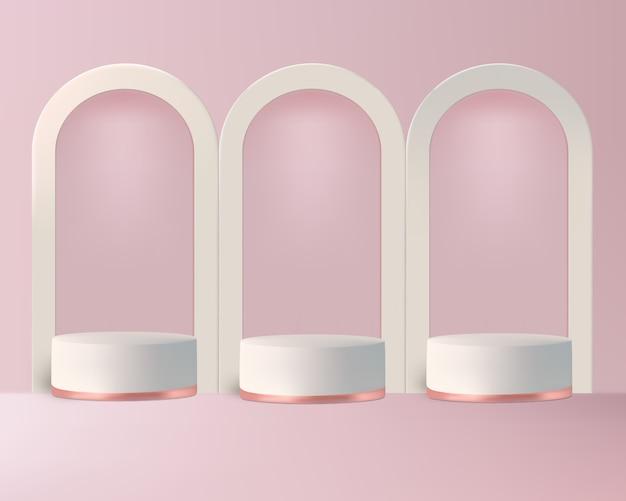 Podium de luxe sur fond rose pour montrer le produit