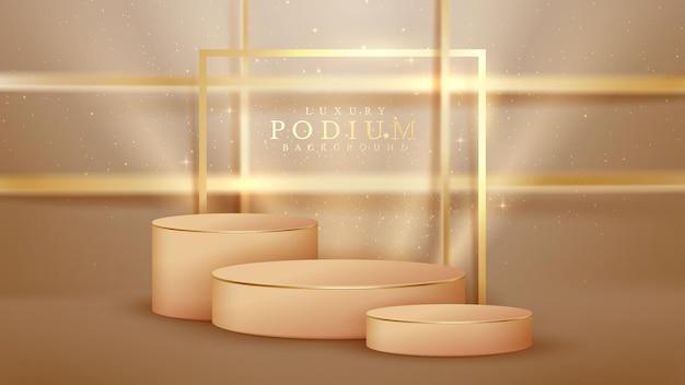 Podium marron et éléments de lignes dorées scintillantes, style de luxe réaliste 3d.