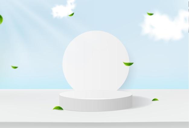 Podium minimaliste avec des formes géométriques et des vues sur le ciel et les feuilles