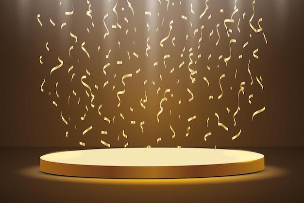 Podium d'or avec un projecteur sur un fond sombre, avec du brouillard et des confettis, la première place, la renommée et la popularité.