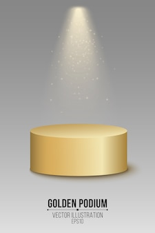Podium d'or vide 3d. top place avec des projecteurs et des paillettes volantes brillantes.