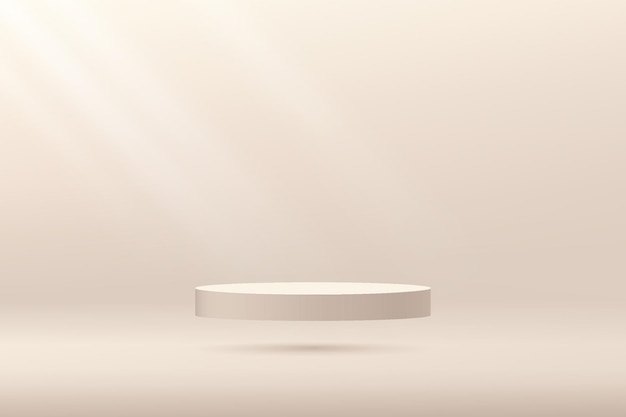 Podium de piédestal de couleur beige 3d abstrait flottant sur scène de mur minimal de couleur beige de l'air